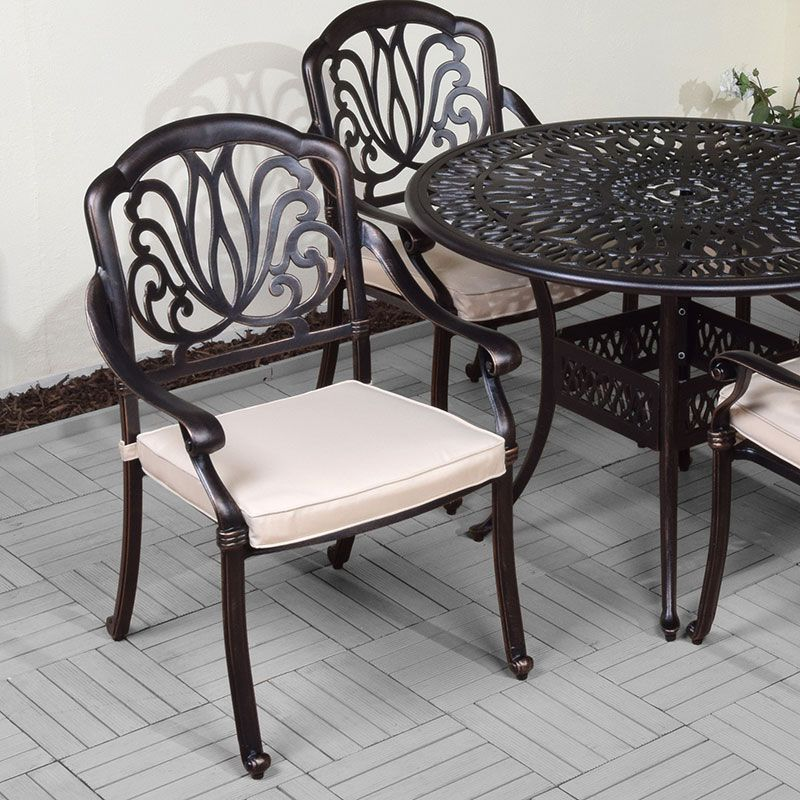 Cast aluminium 4 armchairs with round table chair garden for Round table 99