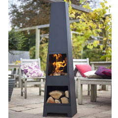 La Hacienda Malmo Steel Chimenea with Log Store - 150cm
