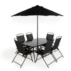 Ellister Siena Glass 6 Armchair 150cm Rectangular Garden Set - With Parasol