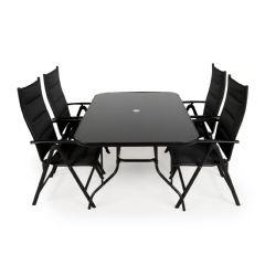 Greenfingers Lorenzo 4 Armchair 150cm Rectangular Reclining Dining Set