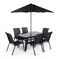 Ellister Siena Steel 6 Stacking Armchair 150cm Rectangular Dining Set with Parasol