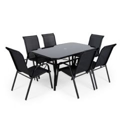 Ellister Siena Steel 6 Stacking Armchair 150cm Rectangular Dining Set