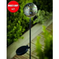 Cole and Bright Solar Global Filigree Stake Light - Twin Pack