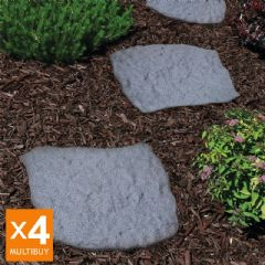 Image of Greenfingers Recycled Rubber Stepping Stone - 4 Pack - Grey