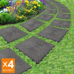 Image of Greenfingers Recycled Rubber Stomp Stepping Stone - 16 Pack - Slate