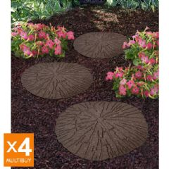 Image of Greenfingers Recycled Rubber Cracked Log Stepping Stone - Earth - 4 Pack