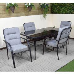 Ellister Siena Steel 4 Armchairs 150cm Rectangular Dining Set