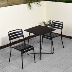 Greenfingers Metal 2 Armchair 60cm Square Bistro Set