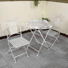 Ellister Mercia Iron 2 Folding Chairs 70cm Circular Bistro Set