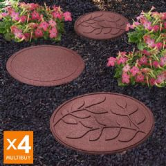 Image of Greenfingers Recycled Rubber Leaf Stepping Stone - 4 Pack - Terracota
