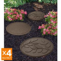 Image of Greenfingers Recycled Rubber Leaf Stepping Stone - 4 Pack - Earth