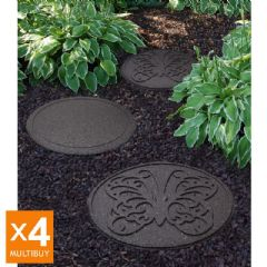 Image of Greenfingers Recycled Rubber Butterfly Stepping Stone - 4 Pack