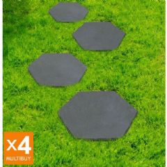 Image of Greenfingers Recycled Rubber Hexagon Stomp Stone - 4 Pack