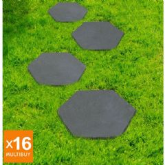 Image of Greenfingers Recycled Rubber Hexagon Stomp Stone - 16 Pack