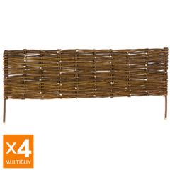 Image of 4m Terra Willow Hurdle Lawn Edging - Woven Design - H30cm - 4x1m Multi-Buy