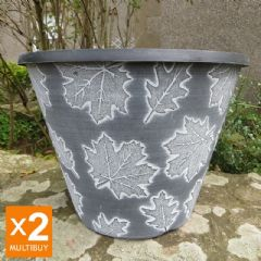 Image of Autumn Leaves Planter - Black with White Wash - 30cm - x2 Multi-Buy
