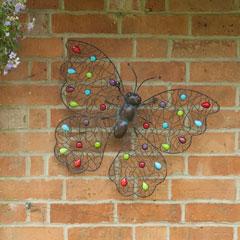 La Hacienda Beaded Butterfly Metal Wall Art - XL