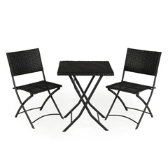 Kingfisher Rattan 2 Folding Chairs 60cm Square Bistro Set
