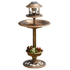 Gablemere Tulip Resin Bird Bath & Feeder with Solar Light and Planter