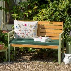 Norfolk Verdi FSC Eucalyptus 2 Seat Bench with Green Cushion