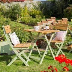 Norfolk Verdi FSC Eucalyptus 2 Folding Chair 60cm Square Tea Set
