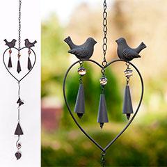 Verdigris Decorative Metal and Glass Hanging 75cm long