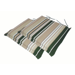Ellister Square Carver Seat Cushion 2 Pack - Green Stripe 46 x 45cm