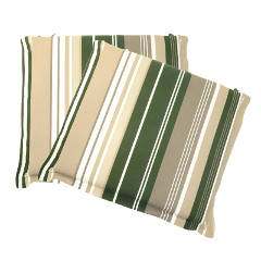 Ellister Square Seat Pad Cushion 2 Pack - Green Stripe 38 x 40cm