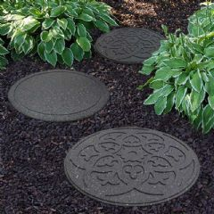 Image of Greenfingers Recycled Rubber Scroll Stepping Stone - Grey