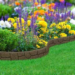 1.2m Recycled Rubber Flexible Lawn Edging - Border Stone - H8.5cm