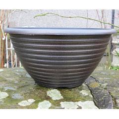 Striation Black and Copper Bowl Planter - 12In