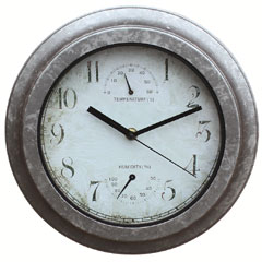 Briers Galvanised Effect Clock & Thermometer 25cm