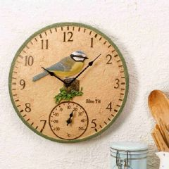 Image of Smart Garden Blue Tit Clock and Thermometer