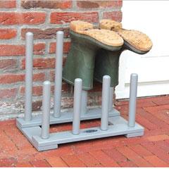 Fallen Fruits FSC Wooden 4 Pairs Boot Rack - Grey