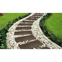 Image of Greenfingers Recycled Rubber Wood Effect Railway Sleeper Stepping Stone - Earth