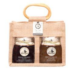 Mrs Bridges Four Fruit Selection Twin Jars in Jute Bag