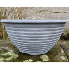 Striation Aged Black Bowl Planter - 12In