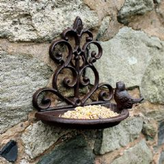 Image of Cast Iron Wall Mounted Bird Bath and Feeder