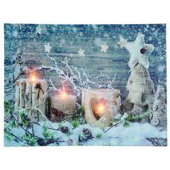 Rustic Christmas LED Light Canvas - 40 x 30cm