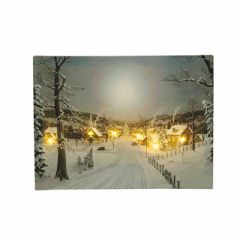 Christmas Canvas with Flickering LEDs - 40 x 30cm
