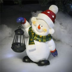 Image of Kingfisher Solar Light Snowman - 29.5cm Height