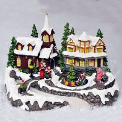 Image of Christmas Village Scene with Moving Sleigh Lights and Sound - 29cm Width