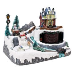 Christmas Village Scene with Turning Snowman Lights Sounds - 32cm Height