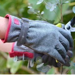 Burgon and Ball Grey Tweed Gardening Gloves - M/L