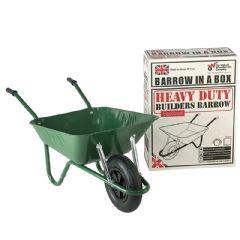 Walsall Wheelbarrow Green Builders Barrow with Pneumatic Wheel -85L
