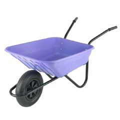 Walsall Wheelbarrow Multipurpose Barrow with Pneumatic Wheel - 90L Lilac