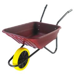 Walsall Wheelbarrow Multipurpose Barrow with Puncture Proof Wheel - 90L Burgundy