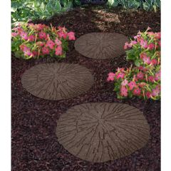 Image of Greenfingers Recycled Rubber Cracked Log Stepping Stone - Earth