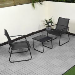 Ellister Steel 2 x Extra Wide Armchair and 45cm Square Bistro Set