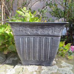 Square Floral Fluted Planter - 34.5cm Width